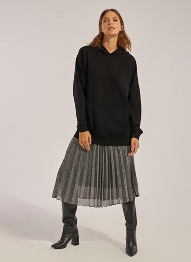 Monamoda Oversize Kapüşonlu Sweatshirt Siyah